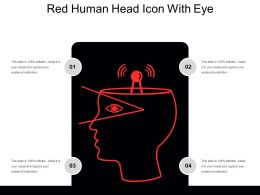 Red Human Head Icon With Eye