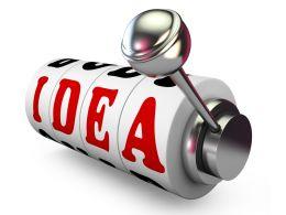 Red Idea Text On Jackpot Machine Stock Photo