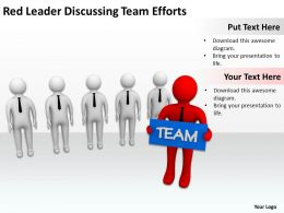 Red Leader Discussing Team Efforts Ppt Graphics Icons Powerpoint