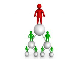 Red Man Standing On Green Pyramid Made By Balls Stock Photo