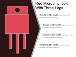 Red Microchip Icon With Three Legs