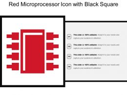 Red Microprocessor Icon With Black Square