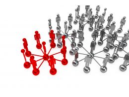 Red Network Leading Grey Network For Leadership Stock Photo
