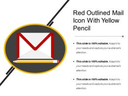 Red Outlined Mail Icon With Yellow Pencil