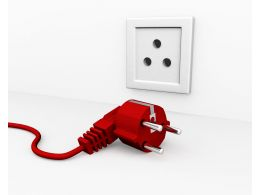 Red Plug For Electric Connection Showing Technology Stock Photo