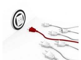 Red Plug Leading White Plugs Displaying Leadership Stock Photo