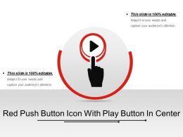 Red Push Button Icon With Play Button In Center