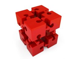 Red Puzzle Cube For Business And Leadership Stock Photo