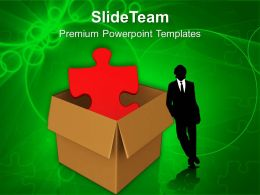 Red Puzzle In Cardboard Box Powerpoint Templates PPT Themes And Graphics 0113