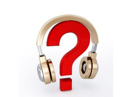 Red Question Mark Under Headphone Stock Photo