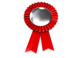Red Ribbon Batch For Winner Topic Stock Photo