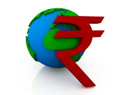 Red Rupee Symbol In Front Of Globe Stock Photo