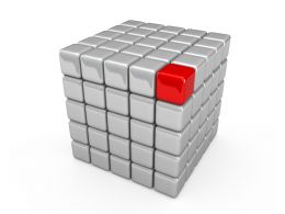 Red Single Cube On White Cube Shows Leadership Concept Stock Photo