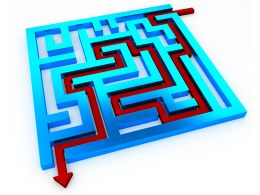 Red Solution Path With Square Maze With Glossy Finish For Problem Solving Stock Photo