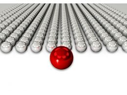 Red Sphere As Leader For Silver Chrome Spheres As Team Stock Photo