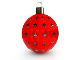 Red Star Print Decorative Ball For Christmas Stock Photo