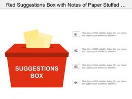 Red Suggestions Box With Notes Of Paper Stuffed Into Its Slot Offering Feedback