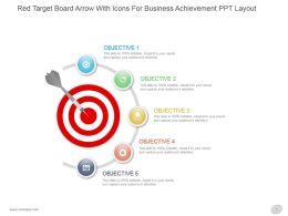 Red Target Board Arrow With Icons For Business Achievement Ppt Layout