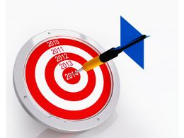 Red Target Dart With One Blue Arrow Stock Photo