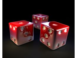 Red Three Dices On Black Background Stock Photo