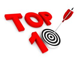 Red Top Ten Target Dart With Arrow Stock Photo
