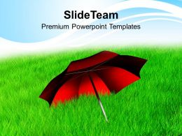 Red Umbrella In Grass Nature Powerpoint Templates Ppt Themes And Graphics