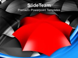 Red Umbrella Unique In Black Umbrellas Powerpoint Templates Ppt Backgrounds For Slides 0213