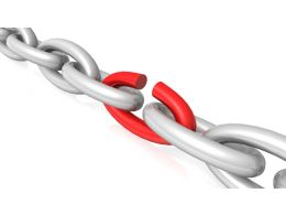 Red Weak Link In Between Silver Chain Stock Photo