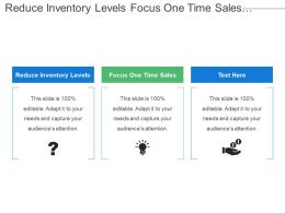 Reduce Inventory Levels Focus One Time Sales Account Executive