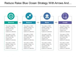 Reduce Raise Blue Ocean Strategy With Arrows And Horizontal Boxes