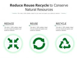 Reduce Reuse Recycle To Conserve Natural Resources