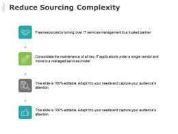 Reduce Sourcing Complexity Gear Technology Ppt Powerpoint Presentation Icon Example File