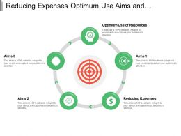 Reducing Expenses Optimum Use Aims And Objectives With Circles And Icons