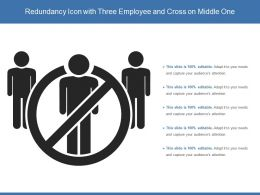 Redundancy Icon With Three Employee And Cross On Middle One