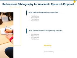 References Bibliography For Academic Research Proposal Ppt Powerpoint Visual Aids