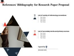 References Bibliography For Research Paper Proposal Referencing Conventions Ppt Design Templates