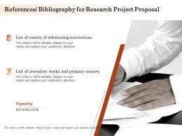 References Bibliography For Research Project Proposal Ppt Powerpoint Graphics Design