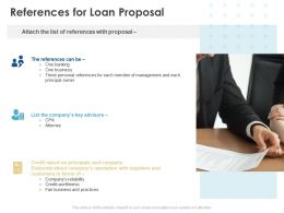 References For Loan Proposal Ppt Powerpoint Presentation Portfolio