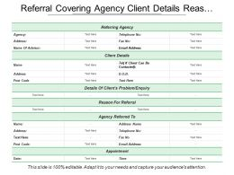 Referral Covering Agency Client Details Reason And Appointment