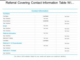Referral Covering Contact Information Table With Text Boxes