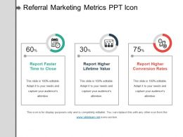 Referral Marketing Metrics Ppt Icon