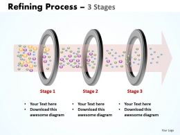 refining process 3 stages shown by ring filters with liquid flowing through powerpoint templates 0712
