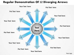 regular demonstration of 12 diverging arrows Radial Chart PowerPoint templates