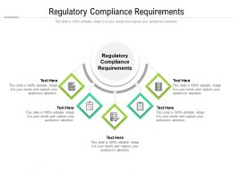 Regulatory Compliance Requirements Ppt Powerpoint Presentation Icon Clipart Cpb