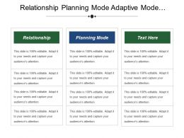 Relationship Planning Mode Adaptive Mode Entrepreneurial Mode Proposed Actions