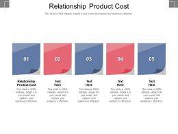Relationship Product Cost Ppt Powerpoint Presentation Show Example Cpb