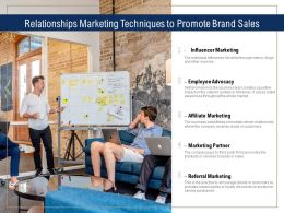 Relationships Marketing Techniques To Promote Brand Sales