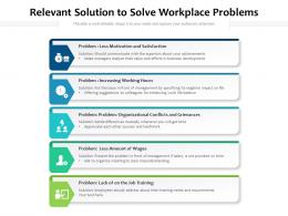 Relevant Solution To Solve Workplace Problems