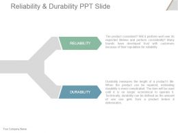 Reliability And Durability Ppt Slide