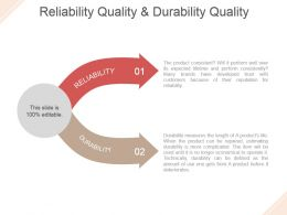 Reliability Quality And Durability Quality Powerpoint Slide Backgrounds